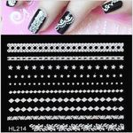 Nail Art Stickers 3D White Lace Flowers - 30 sheets