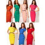 Elegant Chic V Neck Button Dress
