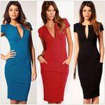 Ladies V-Neck Fashion Pencil Dress