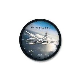 "Aircraft Wall Clocks 10"" - F16 Falcon"