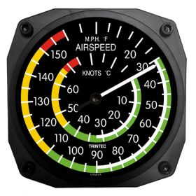 """Instrument Wall Clocks 6.5"""" - Airspeed Thermometer"""